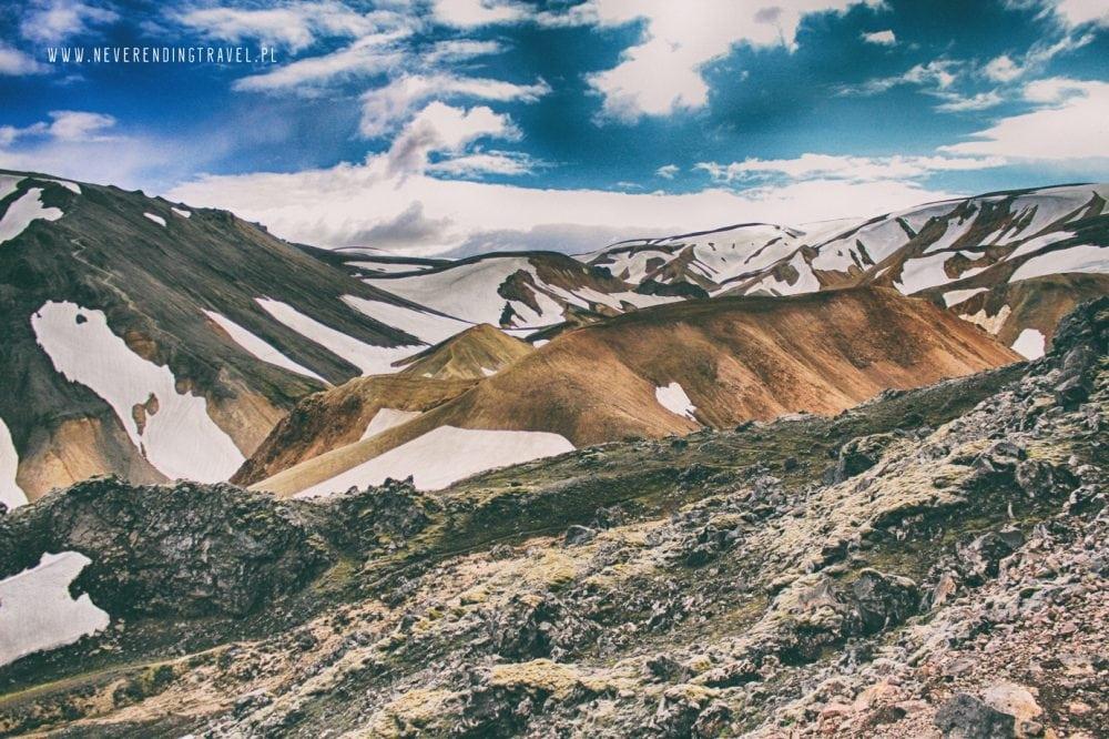 piękne góry tęczowe Landmannalaugar w tle ośnieżone szczyty i błękitne niebo