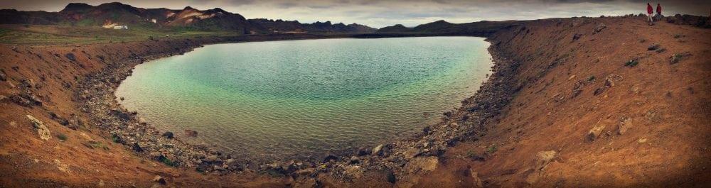 Grænavatn panorama jeziora na islandii turkusowa woda