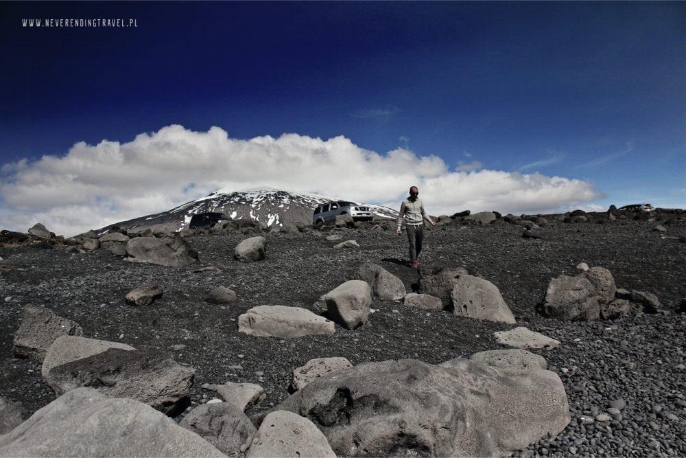 islandia widok z czarnej plaży na górę Snæfellsjökull lub Snaefell