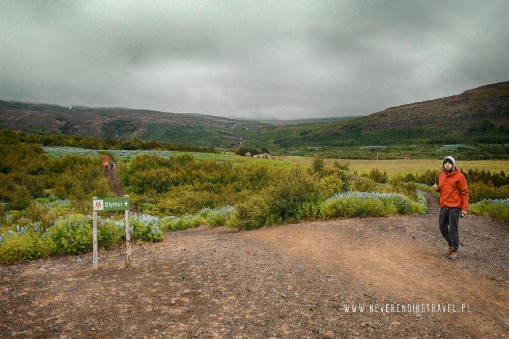 wszlak do islandzkiego wodospadu Glymur na Islandii