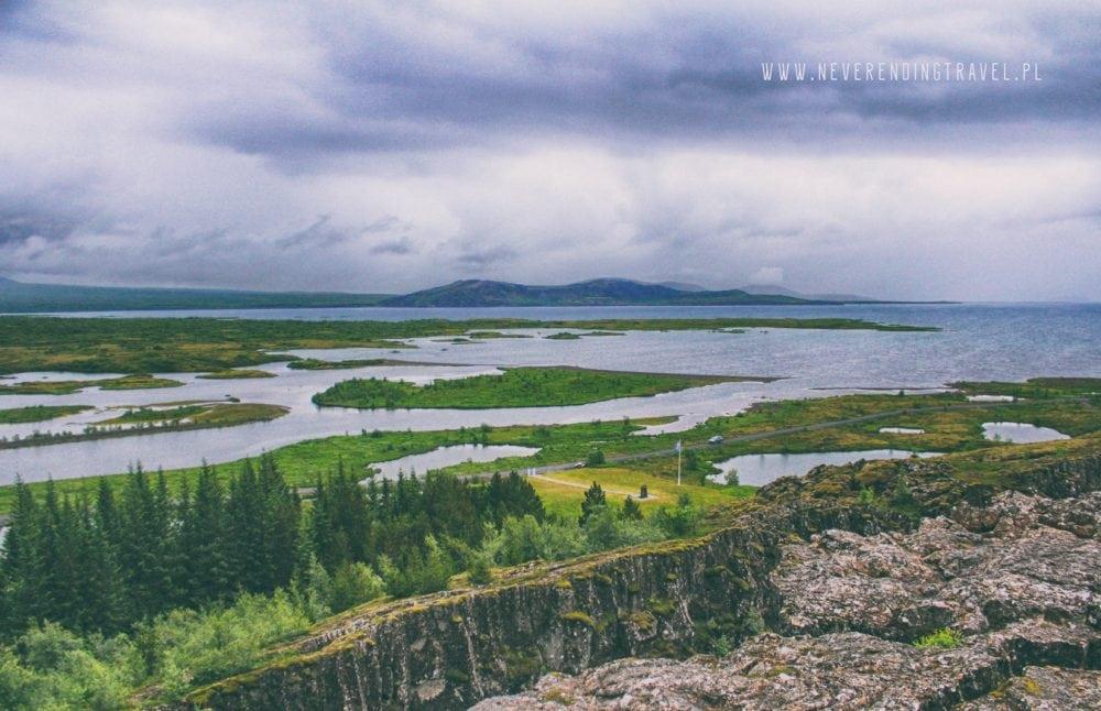 Park Narodowy ÞingvellirParque Nacional de Þingvellir widok ze szczytu w parku