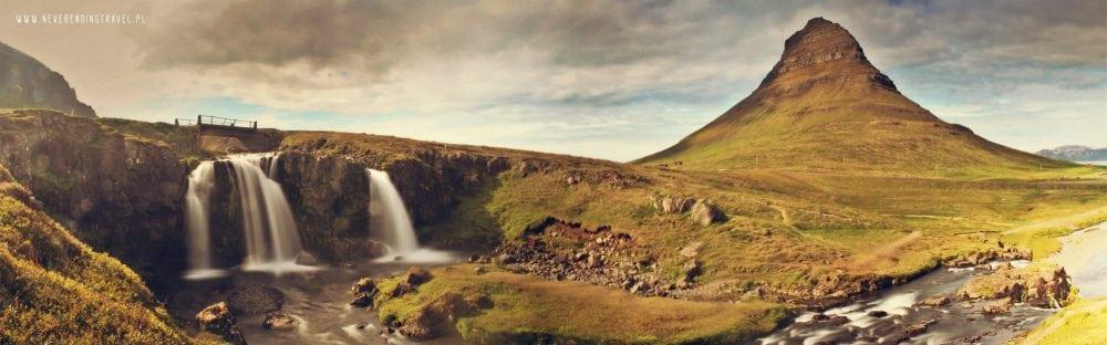 kirkjufell panorama wodospadu i góry na islandii