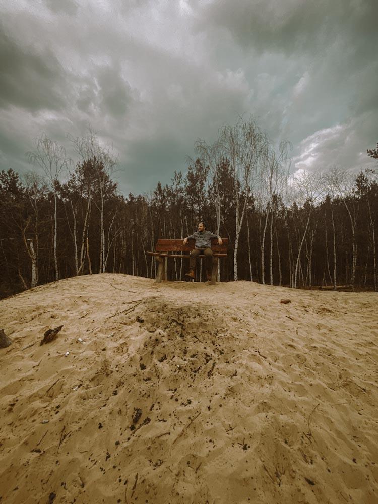 góry chobockie wydma śródlądowa biała góra na jeden dzień z warszawy wypad na weekend ciekawe miejsce ławeczka na mazowszu nietypowe
